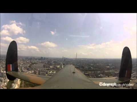 RAF Bomber Command memorial poppy drop filmed from the air