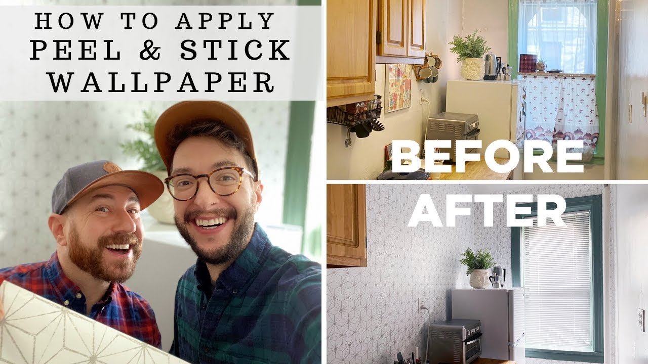 How To Apply Peel Stick Wallpaper Apartment Rental Kitchen Makeover Part One Youtube