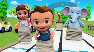 Little Babies and Elephant Fun Play Sack Race Game 3D | Cartoons for Kids Learning Videos