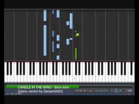 CANDLE IN THE WIND - Elton John [piano tutorial cover by genper2009 ] from YouTube · Duration:  3 minutes 8 seconds