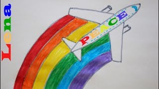 Flugzeug zeichnen ✈ Regenbogen malen 🌈 How to draw an Airplane with Rainbow - как нарисовать самолет