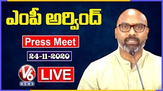 BJP MP Dharmapuri Arvind Press Meet Live | V6 News