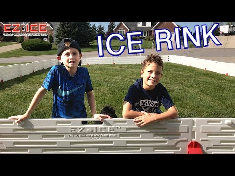 HocKey Kids Set Up EZ ICE RINK in Front Yard all by themselv