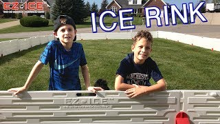 HocKey Kids Set Up EZ ICE RINK in Front Yard all by themselves!! Worlds Easiest Outdoor Ice Rink