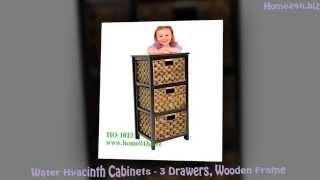 Water Hyacinth Cabinets -3 Drawers, Solid Wooden Frame