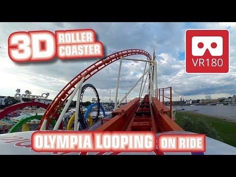 3D VR180 amazing Looping Roller Coaster   intense VR POV   Munich Olympia Looping   Oculus GO Rift