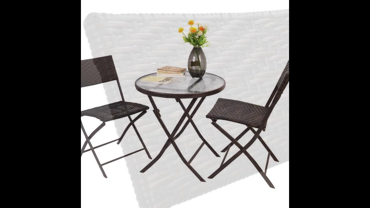 3 Pcs Bistro Folding Table Chair Set Slideshow