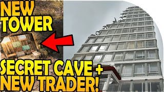NEW TOWER FOUND + SECRET CAVE - NEW TRADER TRADING - 7 Days to Die Alpha 16 Gameplay Part 47 (S2)