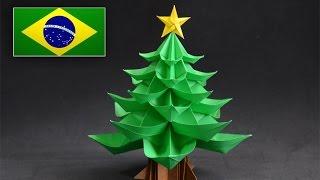 Origami: Árvore de Natal -  Instruções em português PT BR