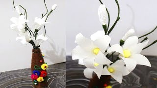 How to make Paper Flower   How to Make Calla Lily Flower From Crepe Paper   DIY Paper Crafts