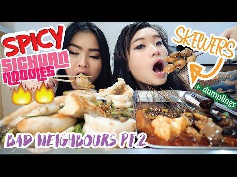 Spicy Sichuan Noodles &  Dumplings & Skewers | Mukbang | Eating Show
