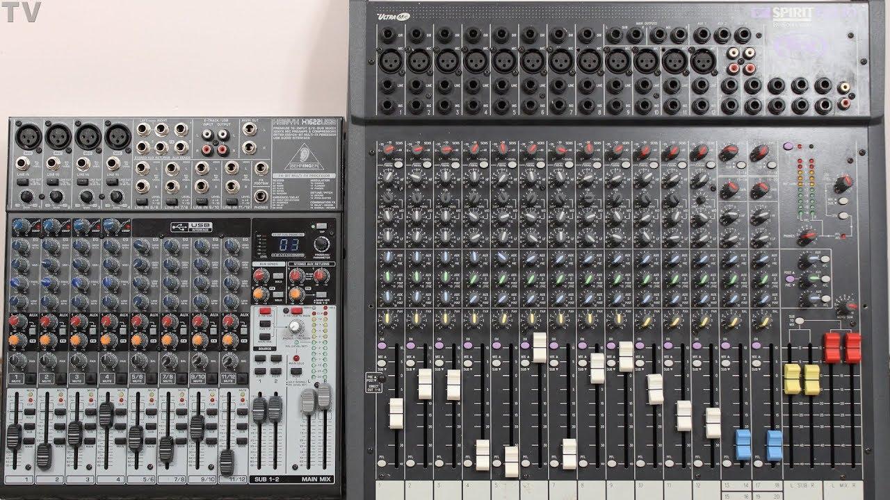 Uitgelezene Behringer X1622 audio mixer Vs Soundcraft Spirit Folio SX audio QI-55