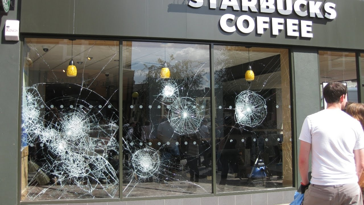 Protesters In Washington Dc Smash Starbucks Windows