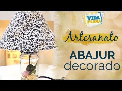 Artesanato   Abajur decorado com forração de cúpula
