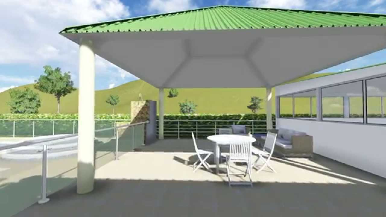 Panor mica sal n para gimnasio kiosco reas verdes y bbq for Kiosco de madera para jardin