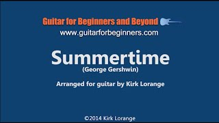 Summertime - A Fingerstyle Guitar Lesson with Virtual Animated Fretboard.