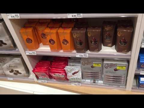 Chocolate Geneva. Swiss chocolate assortiment, range. Geneva, Coop City Center.