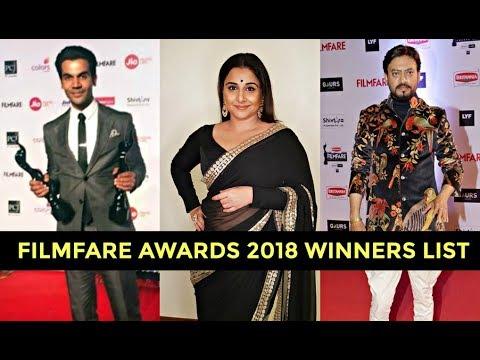Filmfare Awards 2018 Winners List - Rajkummar Rao, Vidya Balan, Irrfan Khan