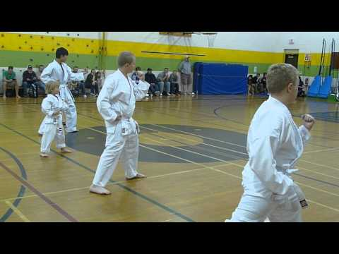 White Belts Testing For Yellow - Kihon/Basics - Charleswood Karate May 2012