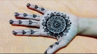 Simple cute Mehndi mehandi mehendi henna design, round design for beginners,Ramjan eid mehendi