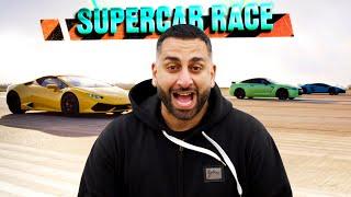Supercar Drag Race - Lamborghini Aventador SV vs Nissan GT-R vs Huracan