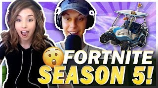 POKI REACTS TO FORTNITE SEASON 5! FT. CIZZORZ + GOLF CART RACING!
