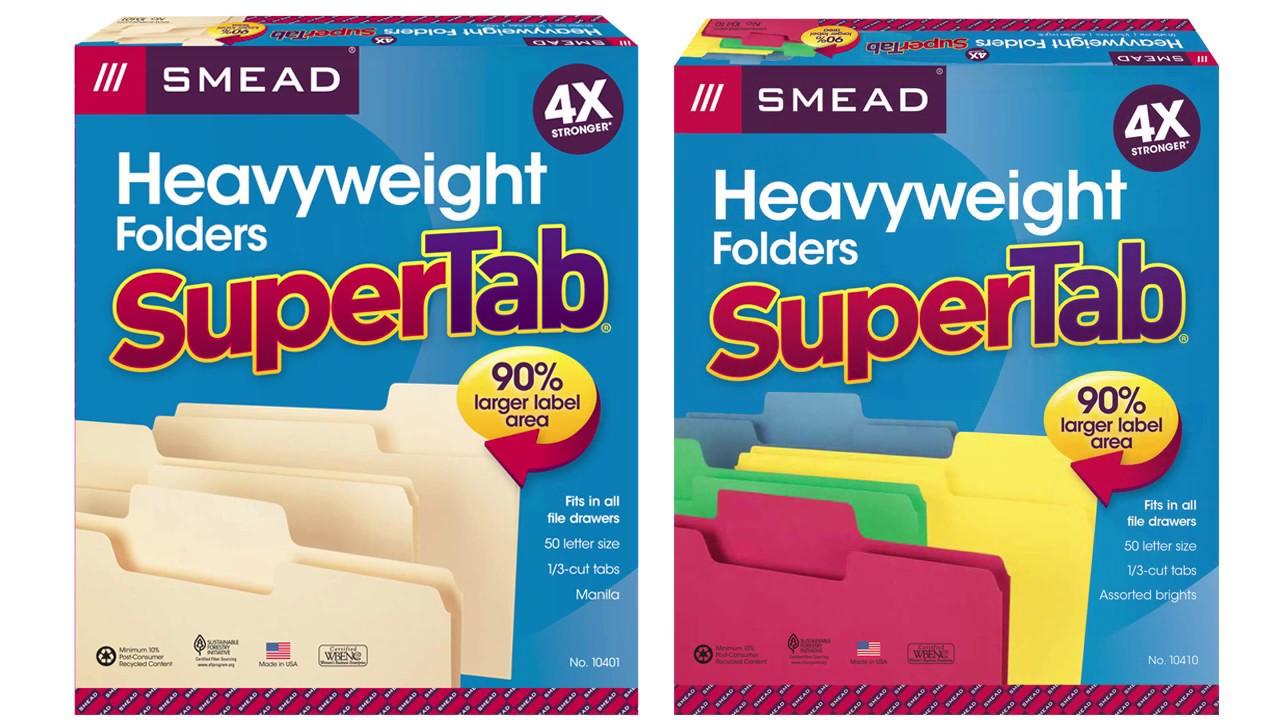 100 Per Box Manila Oversized 1//2-Cut Tab Smead SuperTab File Folder 15106 Legal Size
