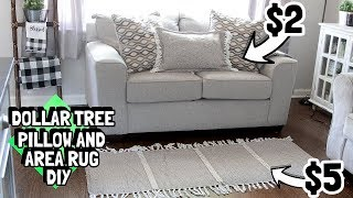 DOLLAR TREE WOVEN TASSLE AREA RUG AND THROW PILLOW DIY