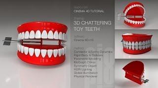 Cinema 4D Tutorial - 3D Chattering Toy Teeth