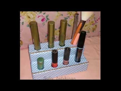 Diy tutorial wadah make up dari kotak (kardus) bekas