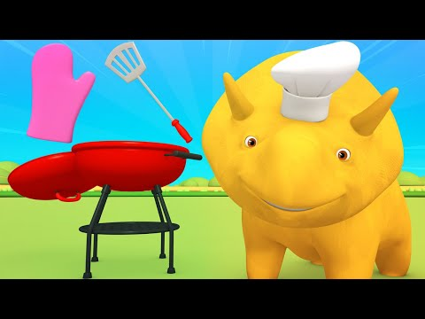 Educational cartoon - FATHER'S DAY - Dino and Dina learn about the BBQ items ! - Learn with Dino