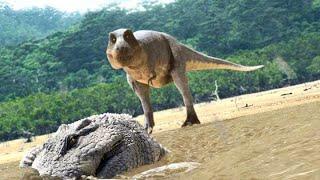 ティラノサウルスとデイノスクスに追い詰められたクリトサウルス【クリエイティブ・ライブラリー 素材】
