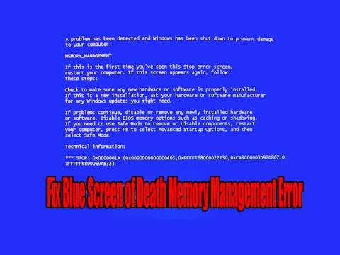 Fix Blue Screen of Death Memory Management Error