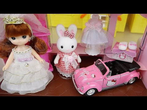 Thumbnail: Baby doll Rabbit Wedding shop and Hello Kitty car toys