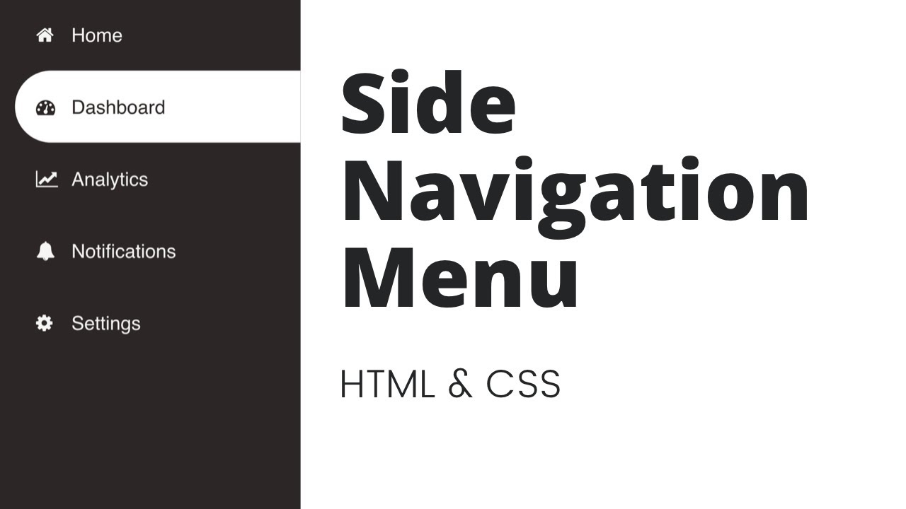 Create Animated Side Navigation Menu using HTML & CSS