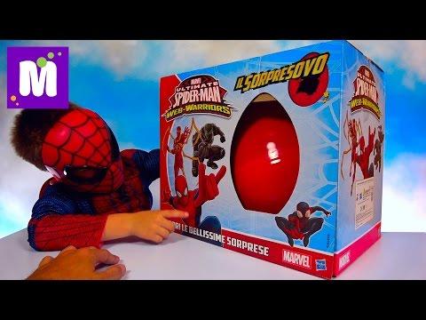 Человек - Паук Супер большое яйцо много игрушек и пузыри из жидкого пластика