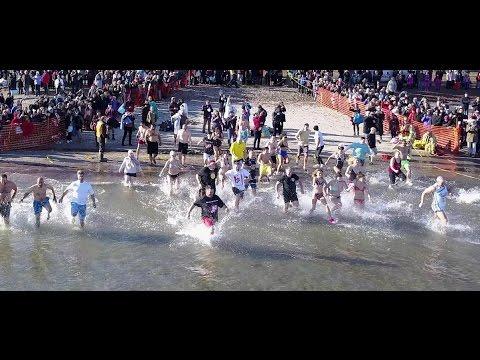 Crazy Canadians Take Icy Plunge In Annual Polar Dip (DJI Mavic footage)