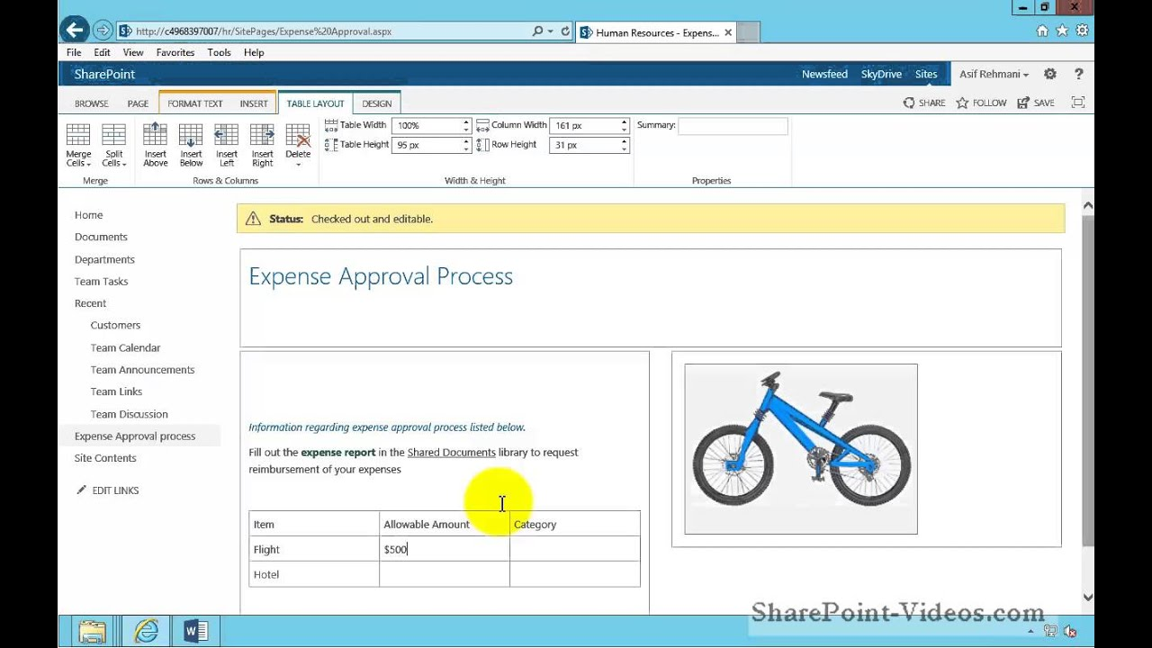 Working with tables on web pages sharepoint 2013 youtube for Web page table design