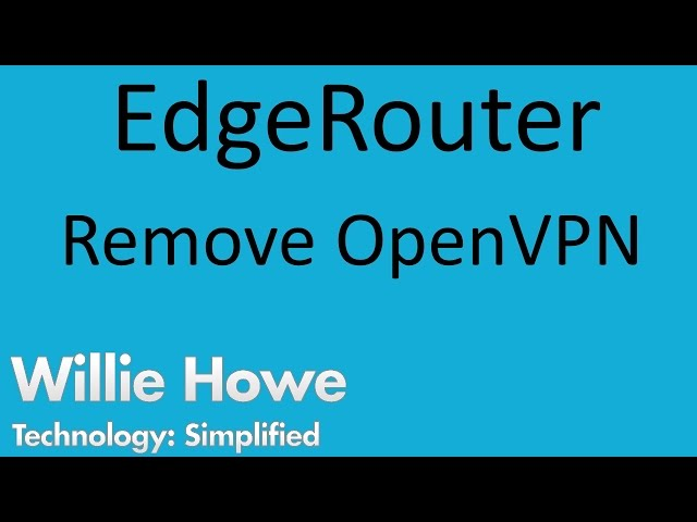 Remove OpenVPN From EdgeRouter