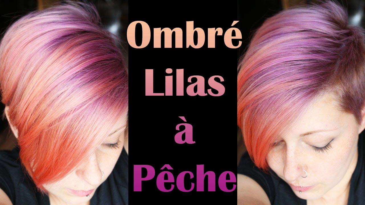 [Coloration] Cheveux dégradés lilas à pêche , Ombré hair lilac to peach