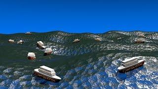 Движущиеся по морским волнам корабли в Cinema 4D