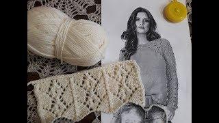 Ажурный пуловер спицами (реглан). Часть 1. Вяжем образец.