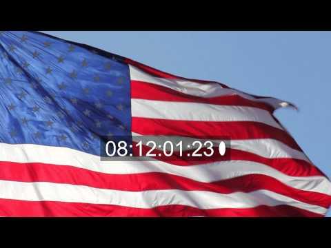 American flag waves