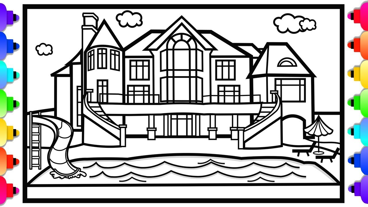 how to draw a mansion house  a swimming pool