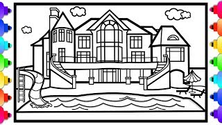 How to Draw a Mansion House with a Swimming Pool for Kids 🌈💜🏡Mansion Coloring Page for Kids 💜🌈
