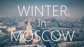 Beautiful WINTER Moscow city Aerial reel...