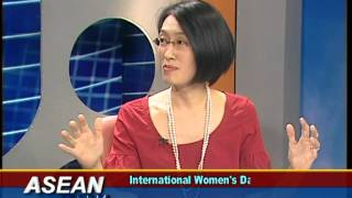 Shoko Ishikawa, Acting Regional Director, is interviewed on ASEAN TV on UN Women's creation