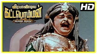 Veerapandiya Kattabomman Movie Scenes   Gemini Ganesan expires in the battle   Sivaji Ganesan