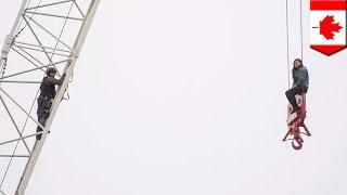 Instagram model gets stuck in construction crane (Marisa Lazo, aka Crane Girl) - TomoNews