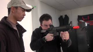 Airsoft GI Uncut - Lancer Tactical Navy Seal MK18 M4 CQBR Automatic Electric Gun with Tim and Jet